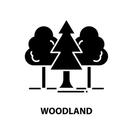woodland icon, black vector sign with editable strokes, concept illustration Ilustração