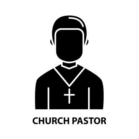 church pastor icon, black vector sign with editable strokes, concept illustration Vectores
