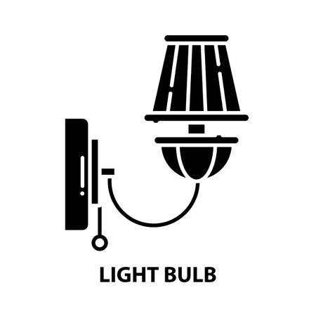 light bulb icon, black vector sign with editable strokes, concept illustration Ilustração