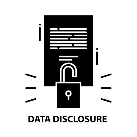 data disclosure icon, black vector sign with editable strokes, concept illustration
