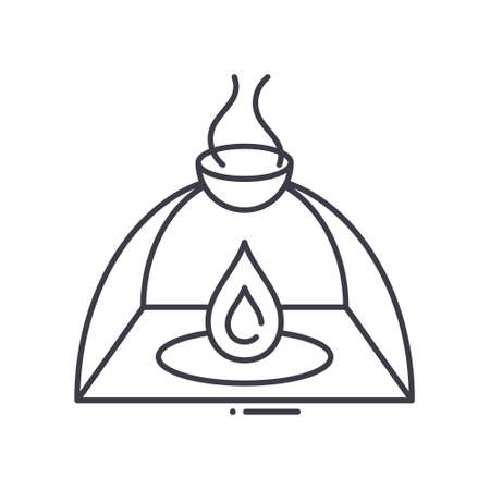Oil burner icon, linear isolated illustration, thin line vector, web design sign, outline concept symbol with editable stroke on white background.