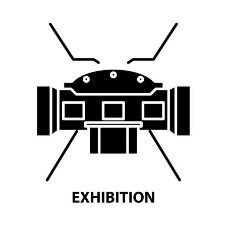 exhibition icon, black vector sign with editable strokes, concept illustration Illustration