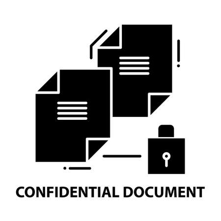 confidential document icon, black vector sign with editable strokes, concept illustration
