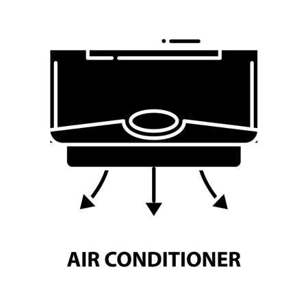 air conditioner icon, black vector sign with editable strokes, concept illustration Иллюстрация