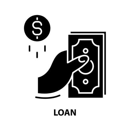 loan icon, black vector sign with editable strokes, concept illustration