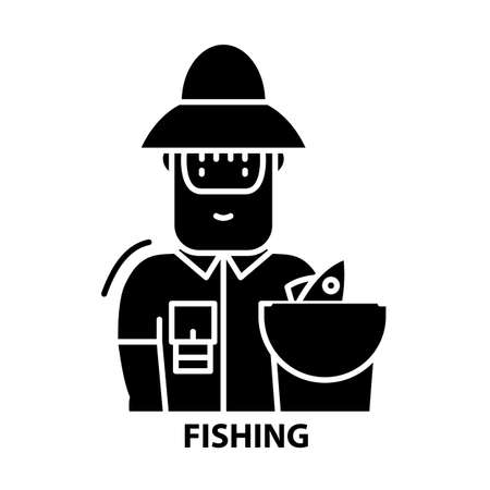 fishing icon, black vector sign with editable strokes, concept illustration