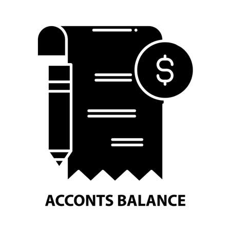 acconts balance icon, black vector sign with editable strokes, concept illustration Stock Illustratie