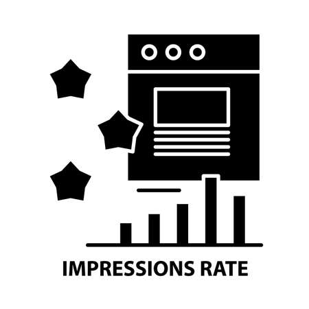 impressions rate icon, black vector sign with editable strokes, concept illustration