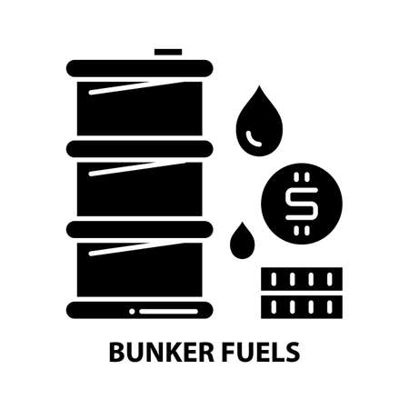 bunker fuels icon, black vector sign with editable strokes, concept illustration