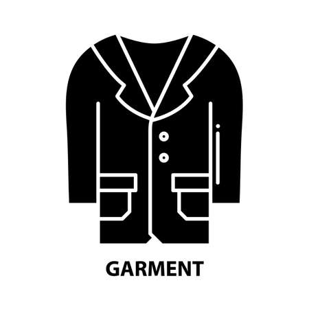 garment icon, black vector sign with editable strokes, concept illustration Stock Illustratie