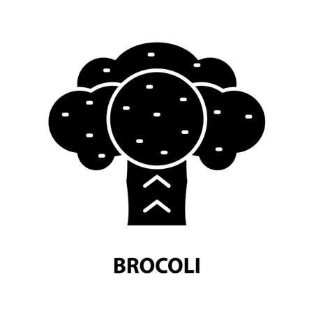 brocoli icon, black vector sign with editable strokes, concept illustration