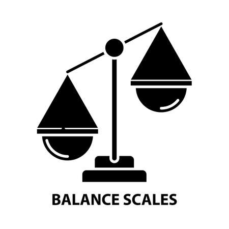 balance scales icon, black vector sign with editable strokes, concept illustration