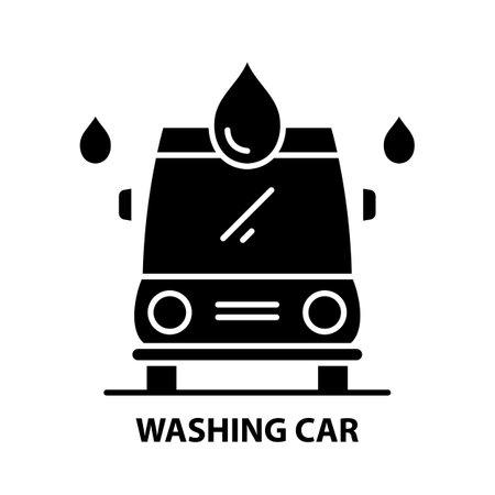 washing car icon, black vector sign with editable strokes, concept illustration Vetores