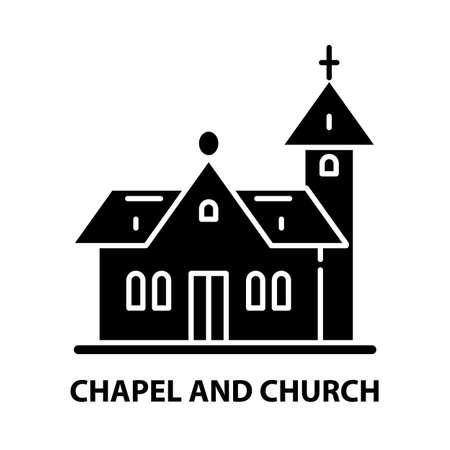 chapel and church icon, black vector sign with editable strokes, concept illustration