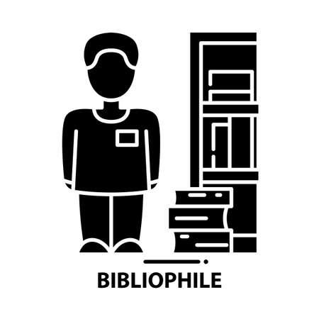 bibliophile icon, black vector sign with editable strokes, concept illustration