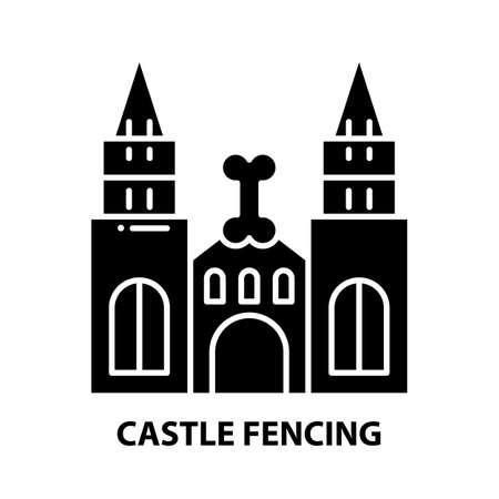 castle fencing icon, black vector sign with editable strokes, concept illustration