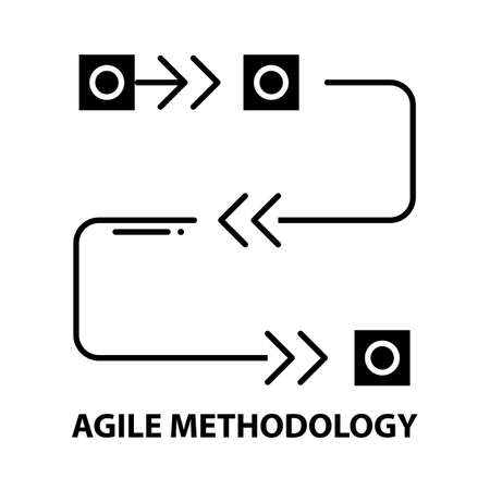 agile methodology icon, black vector sign with editable strokes, concept illustration