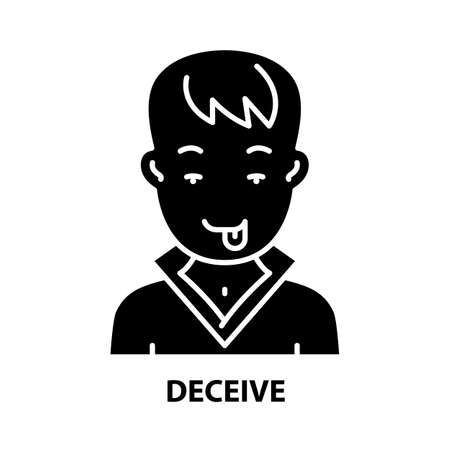 deceive icon, black vector sign with editable strokes, concept illustration 向量圖像