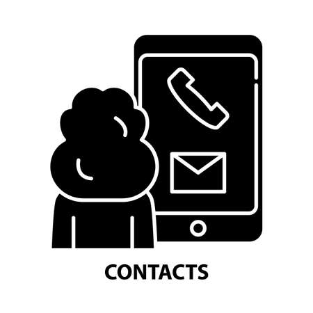 contacts icon, black vector sign with editable strokes, concept illustration