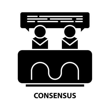 consensus icon, black vector sign with editable strokes, concept illustration
