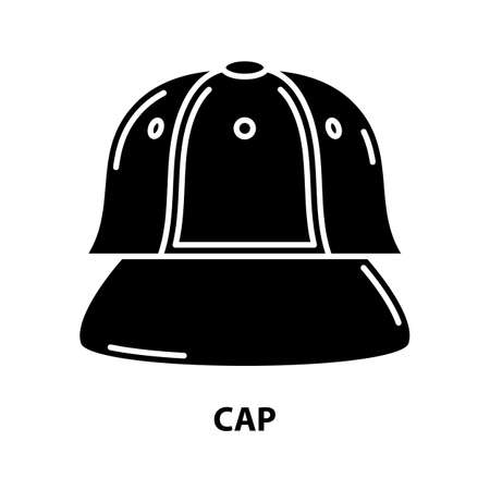 cap icon, black vector sign with editable strokes, concept illustration