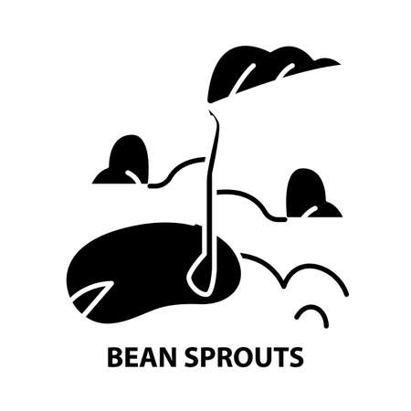 bean sprouts icon, black vector sign with editable strokes, concept illustration