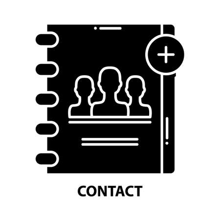 contact icon, black vector sign with editable strokes, concept illustration 矢量图像