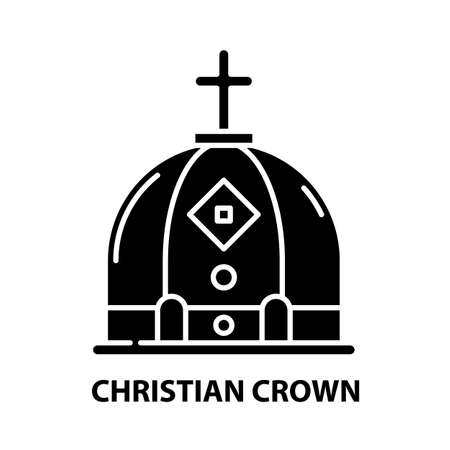 christian crown icon, black vector sign with editable strokes, concept illustration