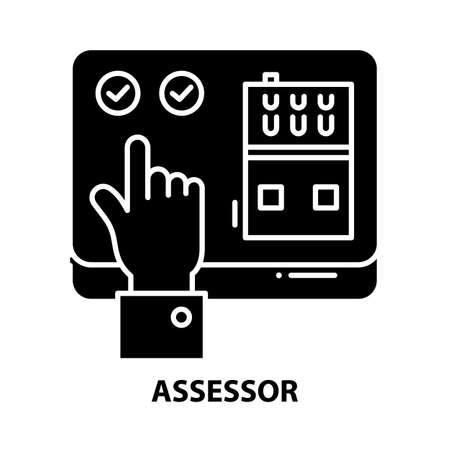 assessor icon, black vector sign with editable strokes, concept illustration
