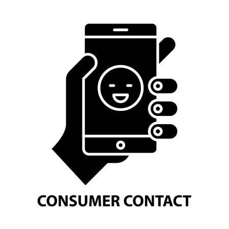 consumer contact icon, black vector sign with editable strokes, concept illustration
