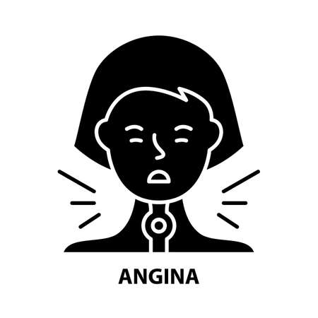 angina icon, black vector sign with editable strokes, concept illustration