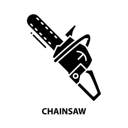 chainsaw icon, black vector sign with editable strokes, concept illustration
