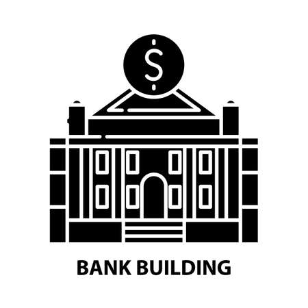 bank building icon, black vector sign with editable strokes, concept illustration