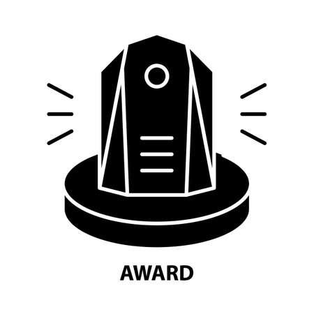 award icon, black vector sign with editable strokes, concept illustration