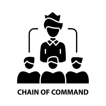 chain of command icon, black vector sign with editable strokes, concept illustration