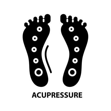 acupressure icon, black vector sign with editable strokes, concept illustration