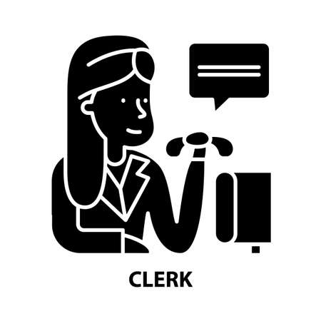 clerk icon, black vector sign with editable strokes, concept illustration