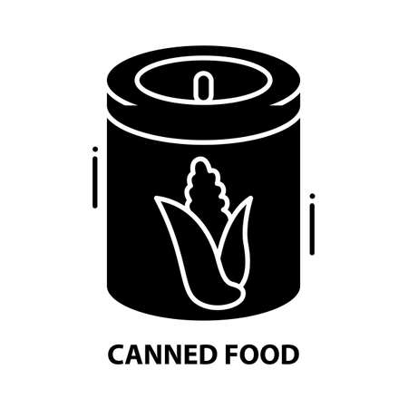 canned food icon, black vector sign with editable strokes, concept illustration