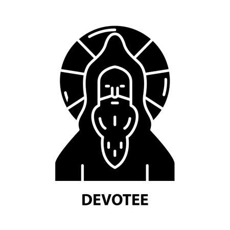devotee icon, black vector sign with editable strokes, concept illustration