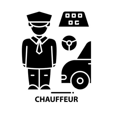 chauffeur icon, black vector sign with editable strokes, concept illustration