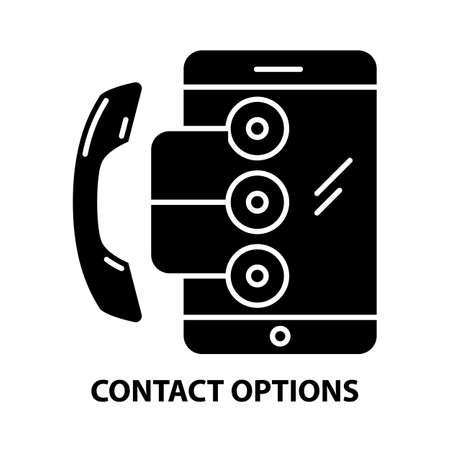contact options icon, black vector sign with editable strokes, concept illustration