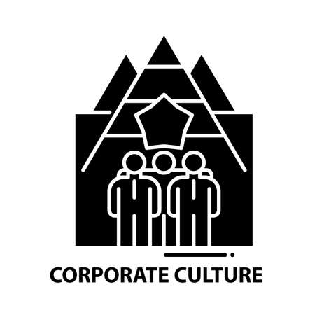 corporate culture icon, black vector sign with editable strokes, concept illustration Vectores