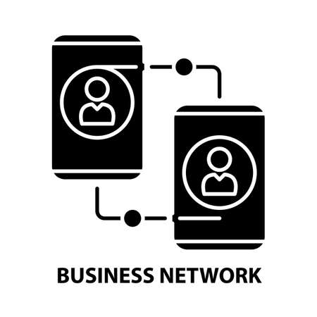 business network icon, black vector sign with editable strokes, concept illustration 矢量图像