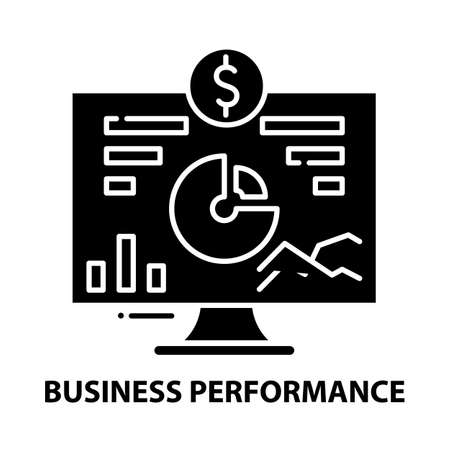 business performance icon, black vector sign with editable strokes, concept illustration Vecteurs