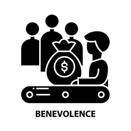 benevolence icon, black vector sign with editable strokes, concept illustration