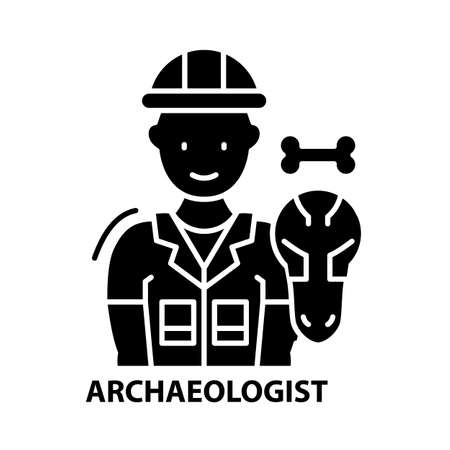 archaeologist icon, black vector sign with editable strokes, concept illustration