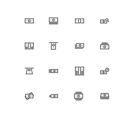 Set of money and finance icons, pay, paper money, cash, growth, check, market, value, earn and linear variety vectors.