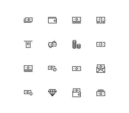 Set of money and finance icons, pay, paper money, cash, growth, market, value, earn and linear variety vectors.