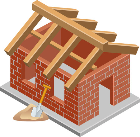 housetop: Shell of a house with roof beams