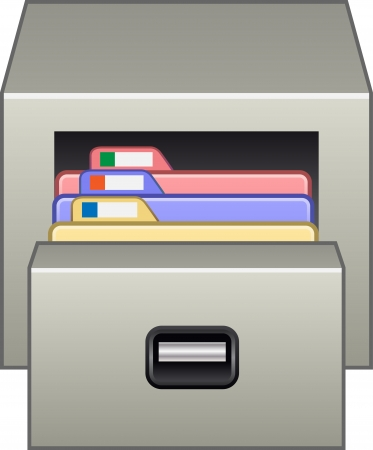 filing documents: Gray filing cabinet Illustration